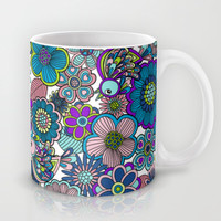 Welcome birds to  my garden. blue Mug by Juliagrifol designs