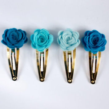 Blue flower clip - set of 4 mini felt roses -  blue hair clip - hair accessories - something blue - wedding hair clip - girls hair bow