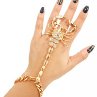 gold scorpion slave bracelet ring rhinestones basketball wives jewelry