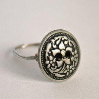 Silver Button Ring Antique Silver Wire Wrapped Ring Custom Size