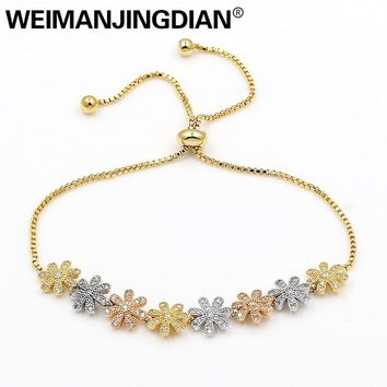 WEIMANJINGDIAN Brand Micro Pave Setting Cubic Zirconia Crystal Flower Bracelets with Adjustable Slide Lock for Women or Wedding
