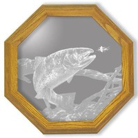 """""""Swim Meet Trout"""" Fishing Etched Glass Art Mirrors"""