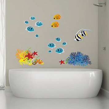 kcik293 Full Color Wall decal coral fish corral starfish bathroom kids room