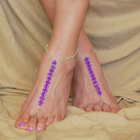 Purple Beaded Barefoot Sandals, Beach Footless Sandals, Beach Wedding, Bottomless Sandals, Foot Jewelry, Anklet, Accessory, Toe Ring