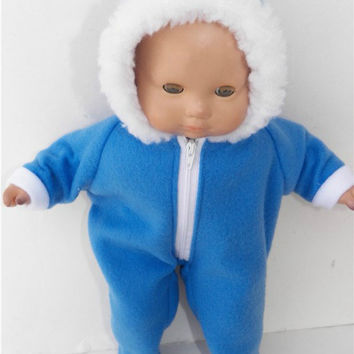 "American Girl Bitty Baby Clothes 15"" Doll Clothes 1 Medium Blue Hooded Faux Fur Zip Up Polar Fleece Winter Snowsuit"