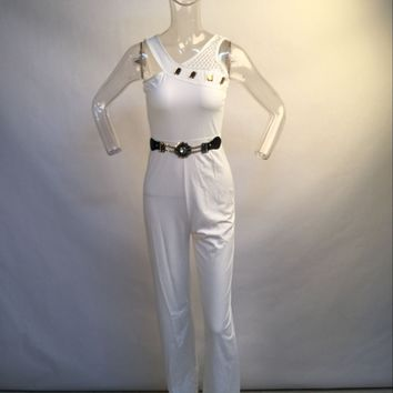 Wide Straps Jumpsuit with Rhinestone Belt