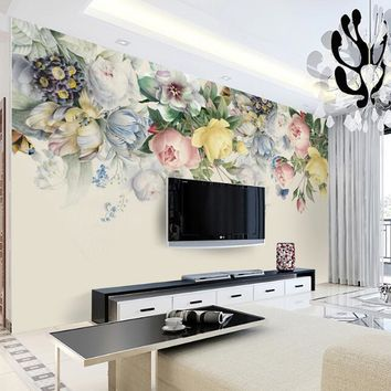 Custom Size 3D Mural Wallpaper European Style Floral Living Room TV Backdrop Photo Wall Paper Hand Painted Rose Flower Art Mural