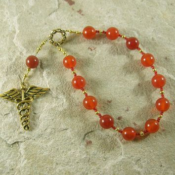 Hermes Pocket Prayer Beads in Carnelian: Greek God of Communication, Commerce, Travel, Cleverness