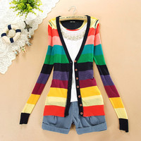 Women long sleeve colorful stripes rainbow V-neck button spring autumn tops ladies knitting knitwear sweater cardigans outerwear