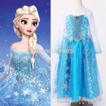 New 2015 hot sale child's baby Girl's Snow Princess Queen Elsa Anna Cosplay Costume Fancy Dress 2-12Y