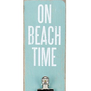 """On Beach Time"" Memo Photo Wall Hanging Clipboard 23-in x 3-in (Aqua, White)"