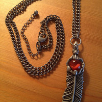 """Long Antiqued Pewter Feather Pendant Boho Beachy Fidget Necklace with 24""""-26"""" Adjustable Chain"""