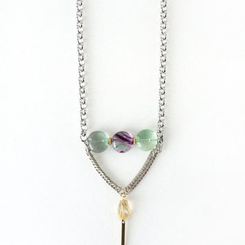 Fluorite and Citrine Crystal Y Style Necklace, Soft Mint Green and Yellow Combination Fashion Jewelry