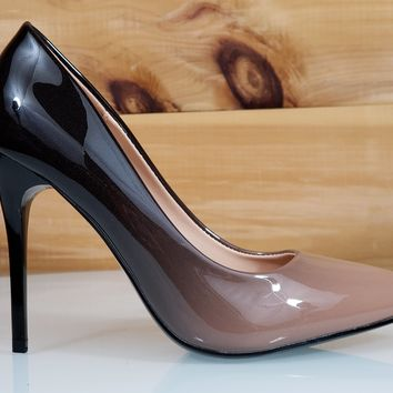 "In Demand Beige Patent Ombre Blend Pointy Toe Pump Shoe 4.5"" Stiletto High Heels"