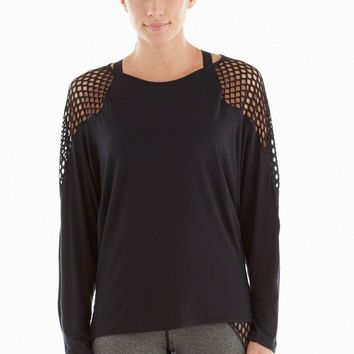 Michi Lure Top | Black Fishnet Activewear Top