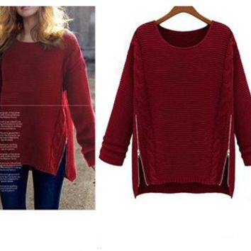 Women's Long Red Sweater - Slit Design / Aran Knit / Zipper
