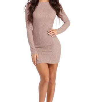 Mauve Glitter Gal Scoop Dress