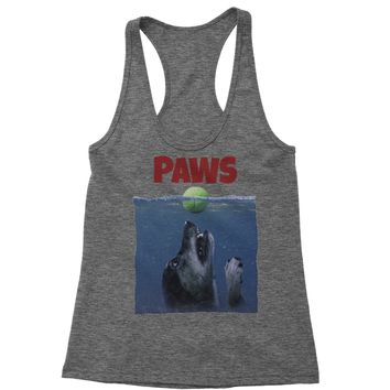 Paws Poster Dog With Tennis Ball Racerback Tank Top for Women