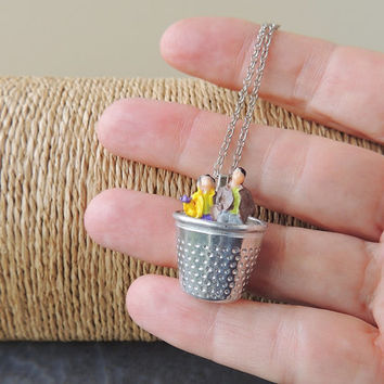 Couple Thimble Necklace, Whimsical Figures Thimble Pendant, Man Woman, Girlfriend Boyfriend, Husband Wife, Mr Mrs, Quirky Kitsch, UK (1073)