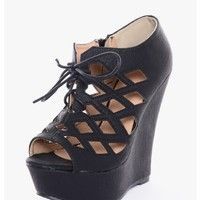 Black Sopia Cut Out Peep Toe Wedge Heels | $15.00 | Cheap Trendy Wedges Chic Discount Fashion for W