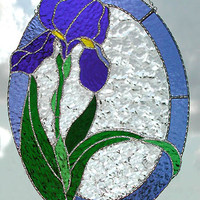 Iris Suncatcher in Stained Glass - Handcrafted Glass Sun Catcher