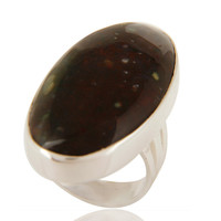 Natural Bloodstone Cabochon Gemstone Ring In Solid Sterling Silver