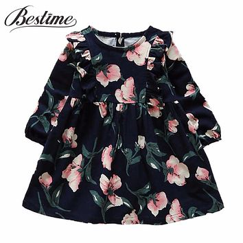 Fashion Girls Clothes Autumn Kids Dresses for Girls Fall Full Sleeve Girl Dress Cotton Kids Floral Printed Cute Children Dress