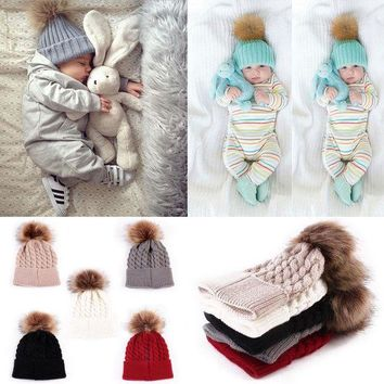 ONETOW Winter Warm Lovely Baby Knitted Crochet Beanie Hat 5 Color