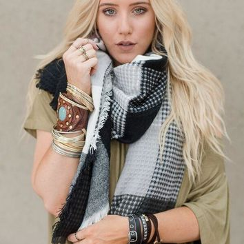 Paired Plaid Blanket Scarf - Black