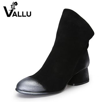 VALLU New 2017 Women Fashion Shoes Ankle Boots Natural Suede Mixed Color Low Heels Back Zipper Woman Boots Black Plus Size