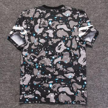 DCCKR2 Luminous star letter printing short-sleeved cotton men and women round neck T-shirt short-sleeved T shirt personality