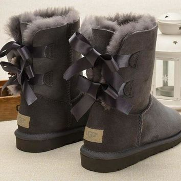 PEAP UGG Fashion Women Fur Bow Wool Snow Boots In Tube Boots Shoes Grey
