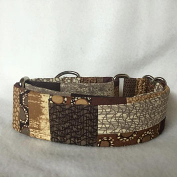 "Animal Print Patchwork Brown/Tan Martingale or Quick Release Collar 5/8"" Quick Release 3/4"" 1"" Martingale Collar, 1.5"" Martingale 2"""