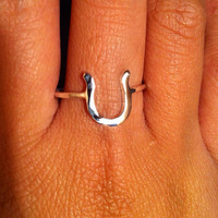 Horse shoe ring horse shoe good luck ring by EllynBlueJewelry