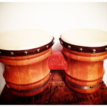 Vintage Bongo Drums, Musical Instrument, Drums, Percussion, Musician, leather drum, wood drum