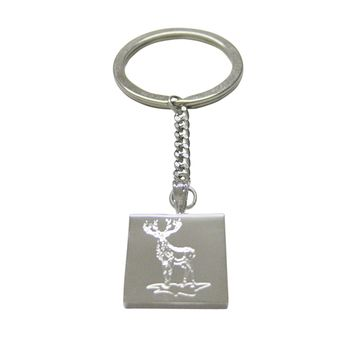 Silver Toned Etched Full Stag Deer Keychain