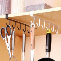 Iron Kitchen Organizer And Storage Rack Hanging Hooks Cup Cooker Dish Shelf Organizer Holder For Bathroom Kitchen Accessories