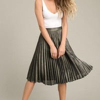 Metallic Accordion Midi Skirt
