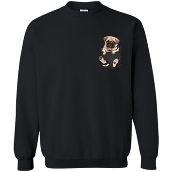 Pug in pocket tee  Printed Crewneck Pullover Sweatshirt