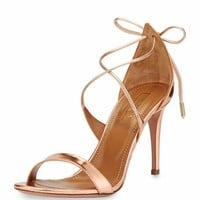 Aquazzura Linda Metallic Leather 75mm Sandal, Rose Gold