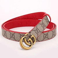 GUCCI New fashion more letter print retro couple belt accessories Khaki
