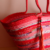 Pretty in Pink, Pink Stripped Basket Summer Bag, BOHOCHIC Bag, Handmade Basket Summer Bag