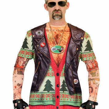 2016 New Fake Two Piece Sweater Leather Jacket Print Ugly Christmas T Shirts for Men Funny Biker Santa Claus with Tatoo Xmas Tee