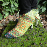 Hmong Embroidered Batik Heeled Ankle Boots In Spring Green