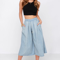About That Life Blue Chambray Culottes