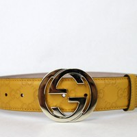 GUCCI Belt w/Interlocking G Buckle Yellow