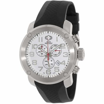 Swiss Precimax SP13002 Men's Marauder Pro Sport White Dial Rubber Strap Chronograph Watch