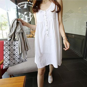 White Short Mini Dress Women Summer Plus Size Loose Boho Beach Cotton Linen Dresses Sleeveless Casual Slips Tank Dress Sundress