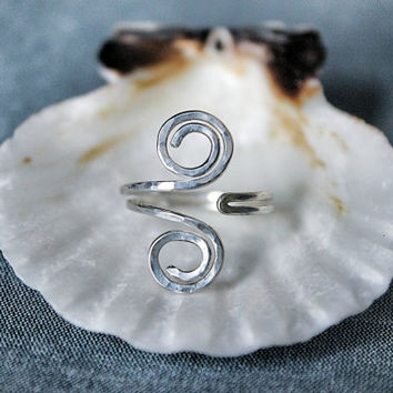 Sterling Silver Hammered Grecian Style adjustable Toe Ring - also available in 14k Gold Filled or Copper
