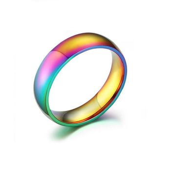 Rainbow Colorful Titanium Steel Wedding Band Ring